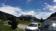 Blick vom Haus auf die Berge